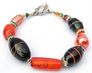 Lampwork Glass Bracelet - Orange & Dark Green