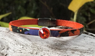 Leather Bracelet - Italian Printed Orange Graffiti