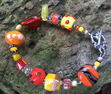 Load image into Gallery viewer, Lampwork Glass Bracelet - Orange Yellow Gold