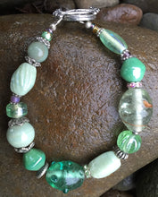 Load image into Gallery viewer, Lampwork Glass Bracelet - Pastel Green and Silver