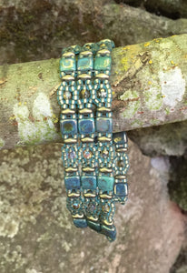 Patina Green and Bronze Czech Glass Beaded Bracelet