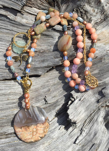 Mineral Necklace - Dragonfly Agate Pendant Necklace