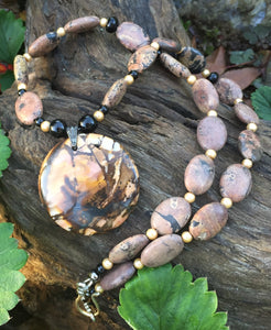 Mineral Necklace - Picture Jasper and Onyx