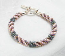 Load image into Gallery viewer, Beaded Bracelet -Kumihimo - Pink and Gray