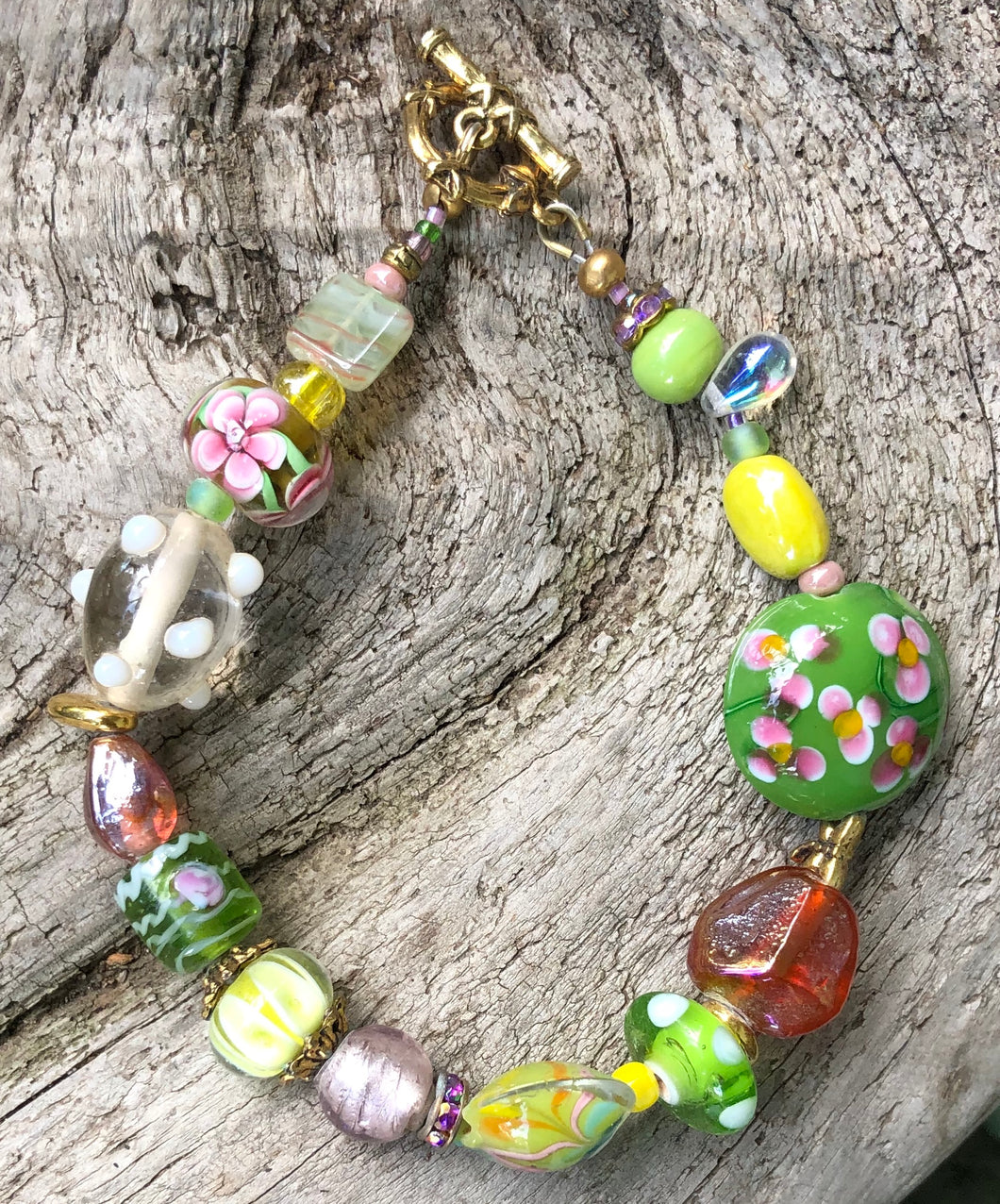 Lampwork Glass Bracelet - Pink Green Yellow Amber