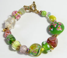 Load image into Gallery viewer, Lampwork Glass Bracelet - Pink Green Yellow Amber