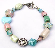 Load image into Gallery viewer, Lampwork Glass Bracelet - Pink Light Blue and Green Pastels
