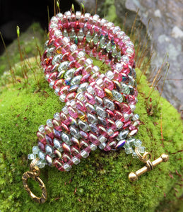 Snakeskin Bracelet - Pink and Green