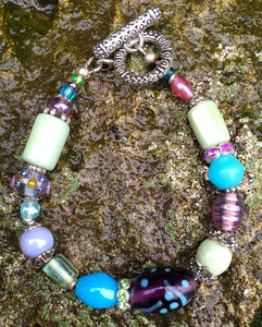 Lampwork Glass Bracelet - Purple Aqua Lt Green