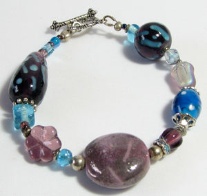 Lampwork Glass Bracelet - Purple Blue Silver