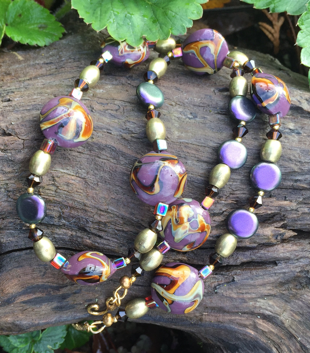 Lampwork Glass Necklace - Purple & Amber