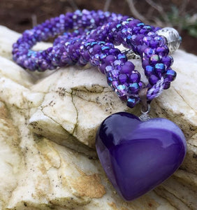 Kumihimo Necklace - Purple Heart Pendant