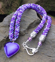 Load image into Gallery viewer, Kumihimo Necklace - Purple Heart Pendant