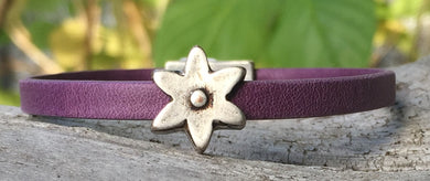 Leather Bracelet - Purple with Flower