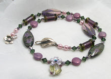 Load image into Gallery viewer, Lampwork Glass Necklace - Purple Olive Swirl