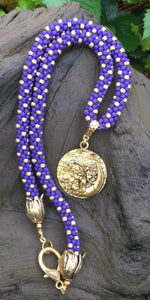 Kumihimo Necklace - Purple and Gold Fairy