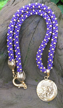 Load image into Gallery viewer, Kumihimo Necklace - Purple and Gold Fairy