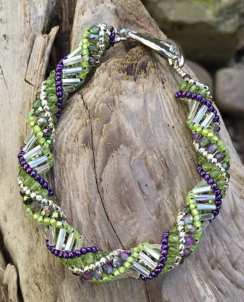 Beaded Bracelet - Silver Purple and Lime Helix