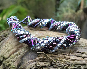 Beaded Bracelet - Purple Iris and Silver Helix