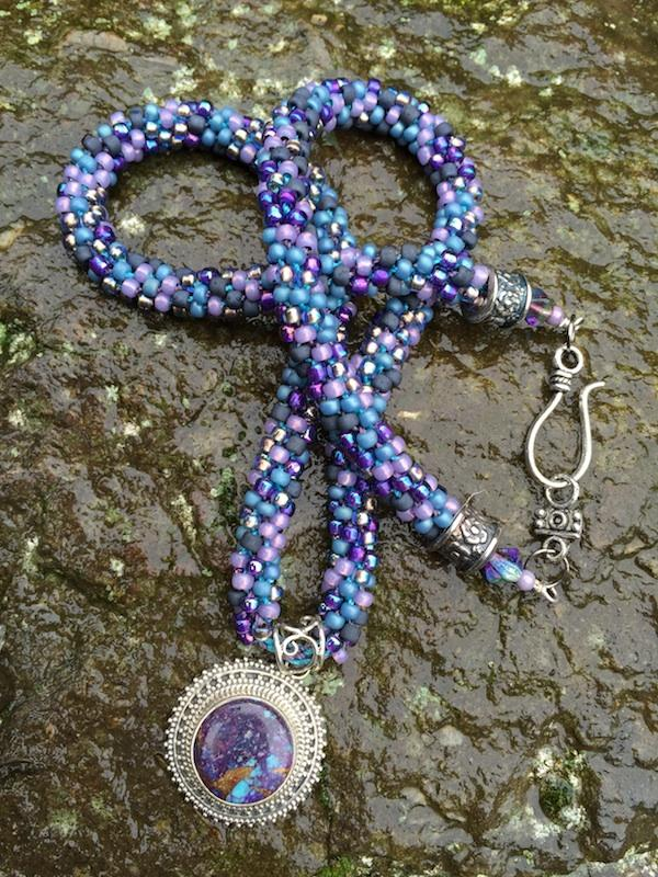 Kumihimo Necklace and Bracelet Set - Purple Turquoise Matrix