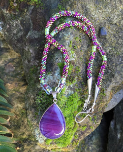Kumihimo Necklace - Purple Vineyard