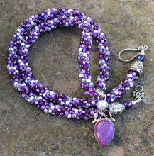 Load image into Gallery viewer, Kumihimo Necklace - Purpurite and Pearl
