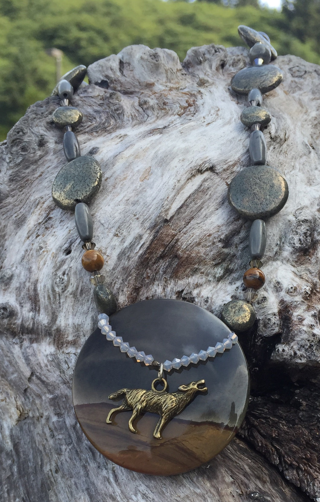 Mineral Necklace - Pyrite and Jasper Coyote