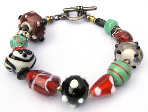 Lampwork Glass Bracelet - Red Black Seafoam