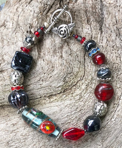 Lampwork Glass Bracelet - Red Black and Silver Rose