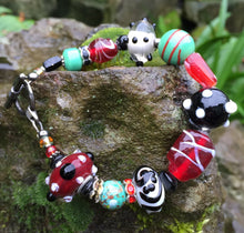 Load image into Gallery viewer, Lampwork Glass Bracelet - Red Black Seafoam