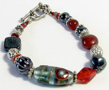 Load image into Gallery viewer, Lampwork Glass Bracelet - Red Black and Silver Rose