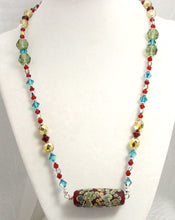 Load image into Gallery viewer, Lampwork Glass Necklace - Red Galaxy & Crystal