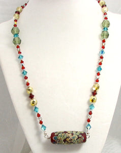 Lampwork Glass Necklace - Red Galaxy & Crystal