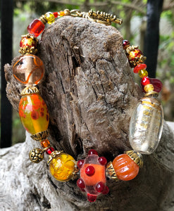 Lampwork Glass Bracelet - Red Yellow Gold and Orange