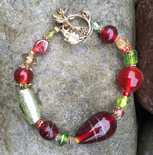 Load image into Gallery viewer, Lampwork Glass Bracelet - Red and Chartreuse with Grape Toggle