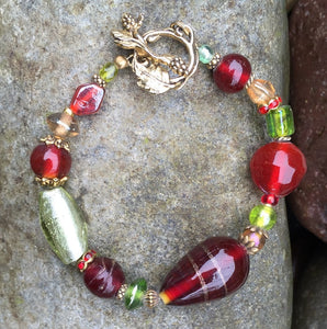 Lampwork Glass Bracelet - Red and Chartreuse with Grape Toggle
