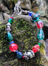 Load image into Gallery viewer, Lampwork Glass Bracelet - Red Green Blue