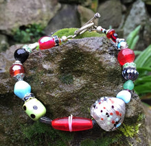 Load image into Gallery viewer, Lampwork Glass Bracelet - Red Green Blue with Heart