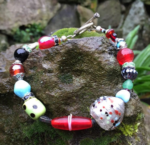 Lampwork Glass Bracelet - Red Green Blue with Heart
