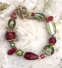 Load image into Gallery viewer, Lampwork Glass Bracelet - Red Olive Gold