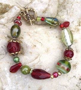 Lampwork Glass Bracelet - Red Olive Gold