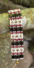 Load image into Gallery viewer, Beaded Bracelet - Black Red and Cream Brocade