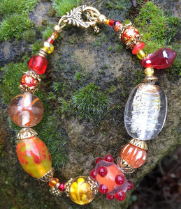 Lampwork Glass Bracelet - Orange Yellow Gold