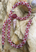 Load image into Gallery viewer, Kumihimo Necklace - Garnet with seashell