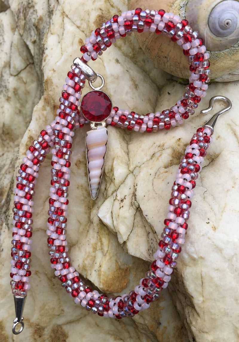 Kumihimo Necklace - Garnet with seashell