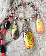 Load image into Gallery viewer, Mineral Necklace - Sea Sediment Jasper, Jade, Onyx and Coral