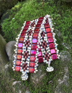 Beaded Bracelet - Sherry and Silver Berry Band