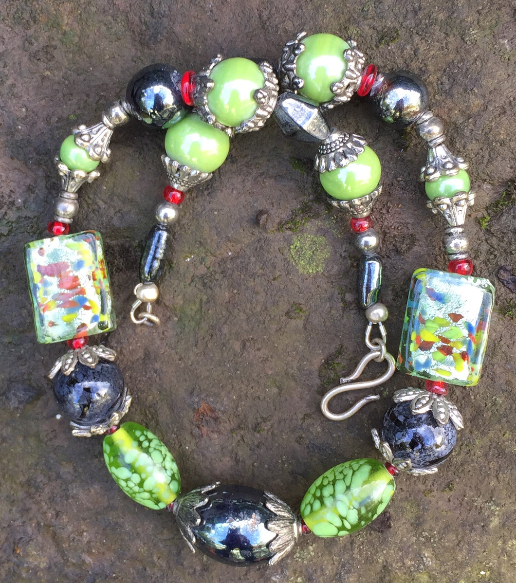 Lampwork Glass Necklace - Shimmering Black and Green Confetti