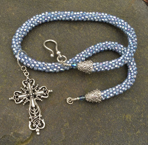 Kumihimo Necklace - Light Metallic Blue with Elaborate Removable Cross