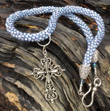 Load image into Gallery viewer, Kumihimo Necklace - Light Metallic Blue with Elaborate Removable Cross